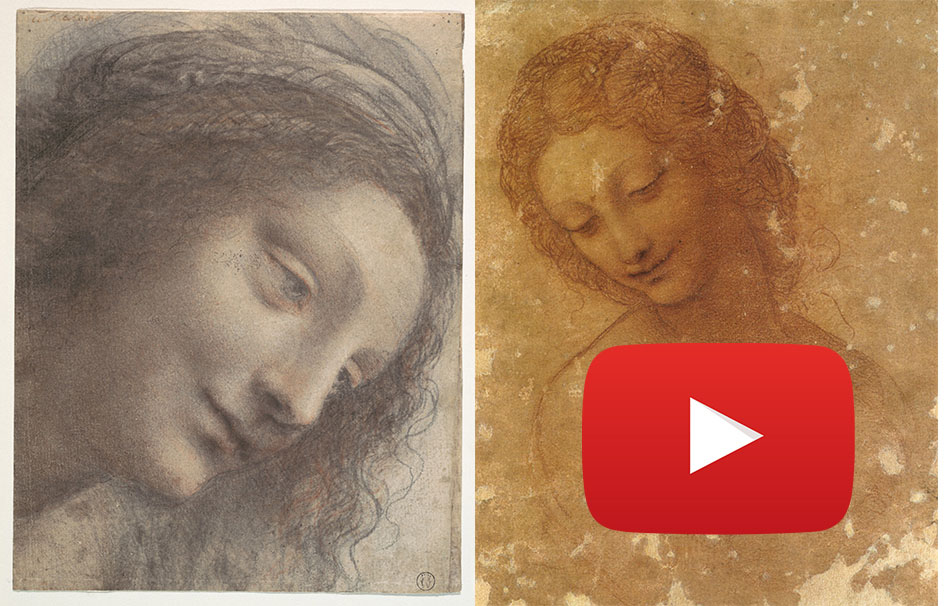 Lionardo's drawings in the search of the Leda and the Swan painting, now lost.